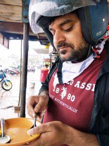 corn bhel and masala tea